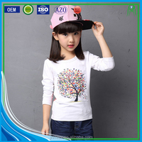 Stylish custom simple design formal 100% combed organic cotton long sleeve t-shirts for girls