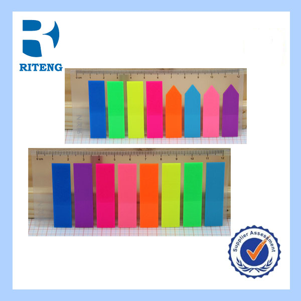 arrow shaped plastic sticky note,colorful PET page marker,adhesive sticky note with ruler holder