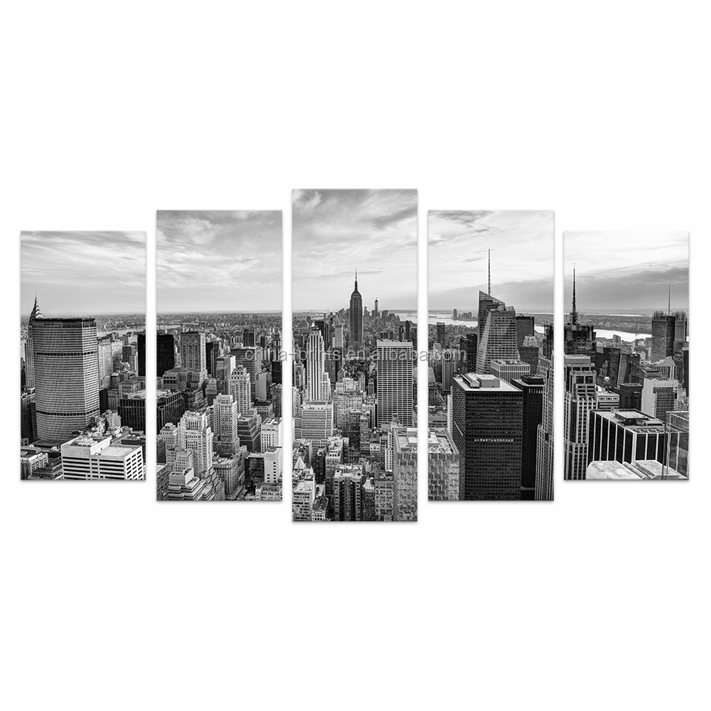 5 Pieces HD Printed City Canvas Art Printing Black and White Cityscape Wall <strong>Picture</strong> for Living Room With Frame/VA170814-5