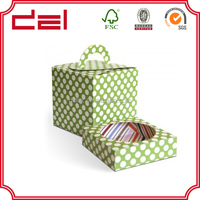 Custom paper cupcake box with paper tray and clear PVC window