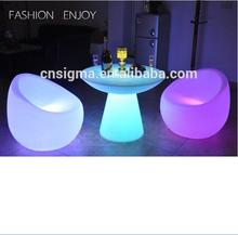 2017 Outdoor bar table and chair seating set LED illuminated lighting furniture