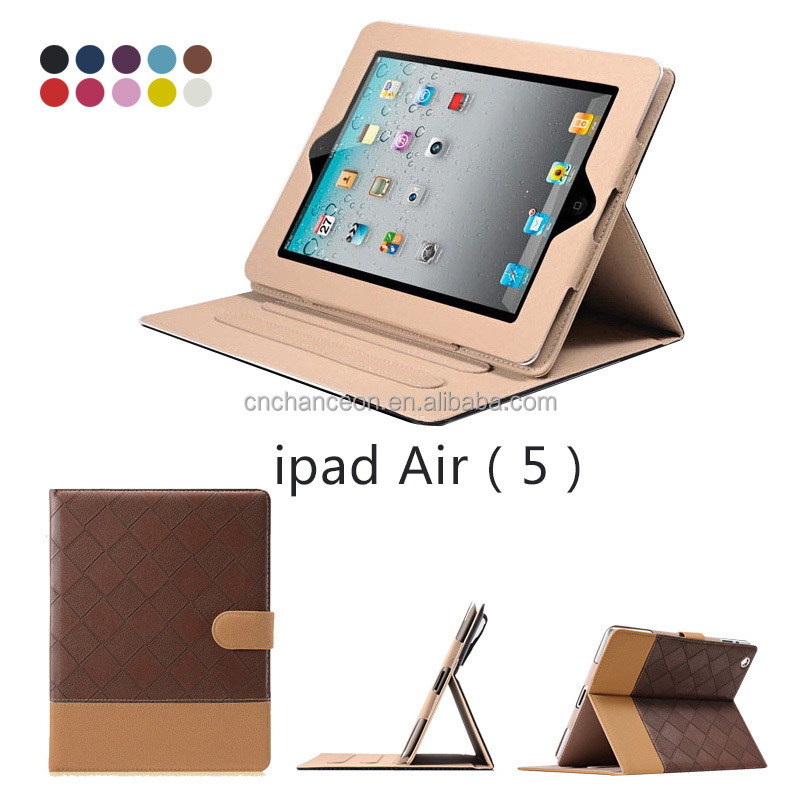 Classic Business Style Check Pattern PU Leather Flip Cover Tablet PC Case Cover For Ipad Air Ipad5 CO-LTC-319