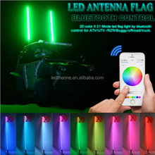 2017 New Design Popular LED Whips For ATV/UTV 4ft 5ft 6ft Lighted Flag Bluetooth Control LED Whips Light