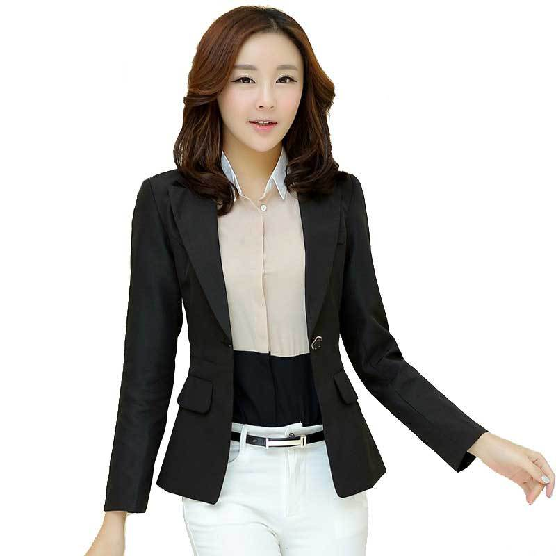 2015 Spring & Autumn Women Single Button Blazers and Jackets Female Fashion Casual Slim Fit Black / Pink Blazer Suits Plus Size