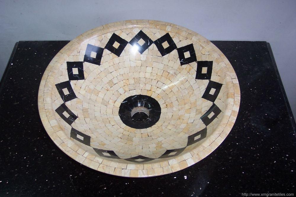 Sumideros de marmol mosaico del fregadero lavabo lavabos - Fregadero de marmol ...