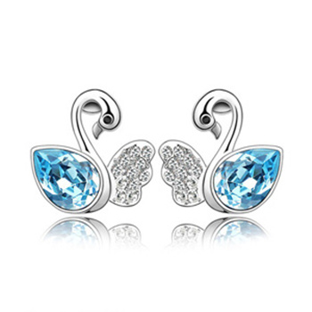 E098 Austrian Crystal Swan Earring Nickel Free Latest Silver Earring Designs Birthday Gift For Girl Alloy Earring