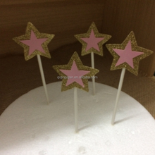 Glitter Star Cupcake Toppers Birthday Cake Toppers
