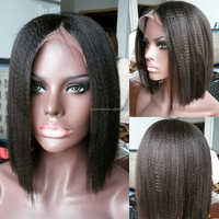 12inch Short Kinky Straight Brazilian Virgin Lace Front Glueless Full Lace Wigs Yaki Bob Human Hair Wig for Black Women