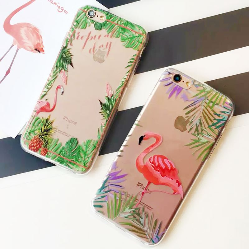 Fashion Soft Colorful Flamingo Case Cover For iPhone 5S Case For iphone 5 7 SE 6 6S Plus Transparent TPU Phone Cases Fundas Capa