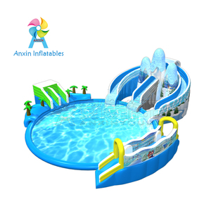 Commercial customized 0.55MM PVC Inflatable iceberg Water Park inflatable slide with pool For Kids