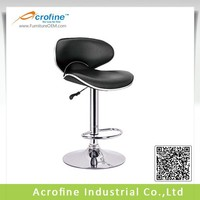 Classical Black Leather Bar Stool with Chromed Base