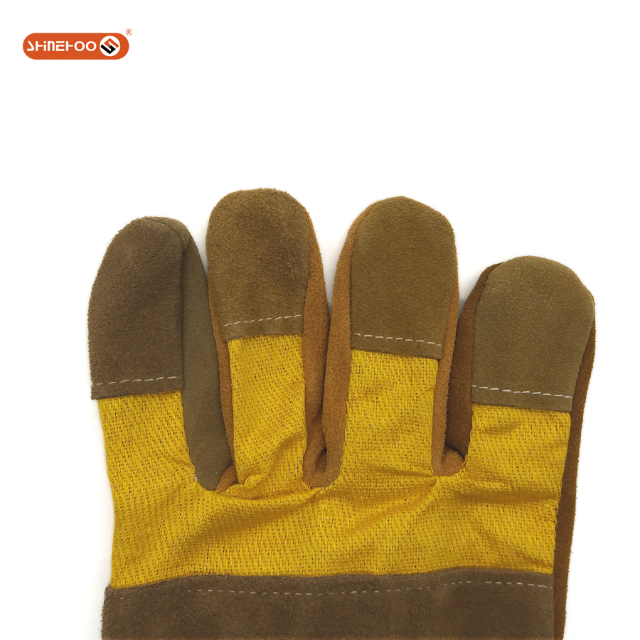SHINEHOO Unlined Short Welding Security Safety Leather Gloves