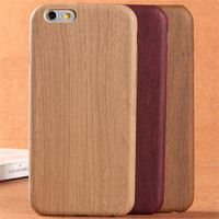 China factory wood grain leather phone case for apple iphone 6