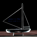 new designed and clear ship crystal model for souvenir