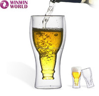 Bar Tool Upside Clear Double Wall Beer Drinking Glass Cup
