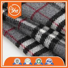 Top quality GOTS Polyester Warm black red white plaid fabric