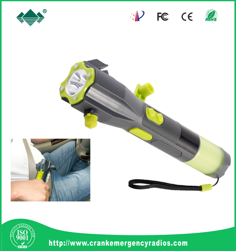 hammer with screwdrivers in handle dynamo torch and knife cut seat belt