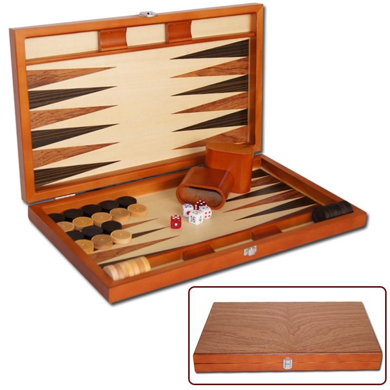 Deluxe Wooden Backgammon Chips with Backgammon Board