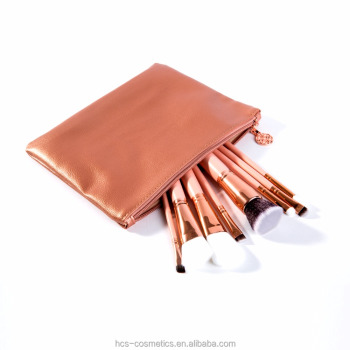 Luxury Leather Bag 8 PCS Cosmetic Makeup Brush OEM order acceptable flat brush