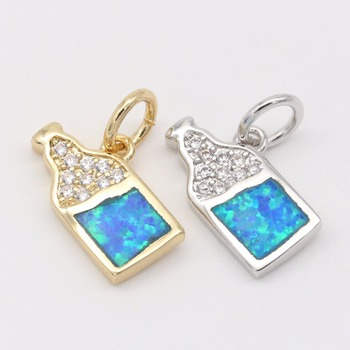 baby bottle Opal jewelry parts , blue opal 18k gold plating brass CZ jewelry make pendants