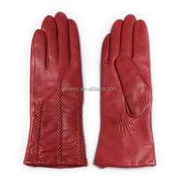 fashion red women soft sheepskin leather glove with knitting wool lining