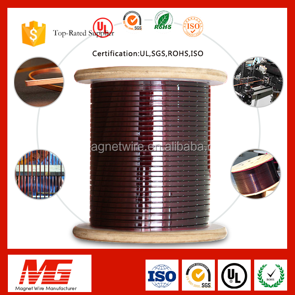 2*1mm Plastic Coated Polyester Magnet Enameled Flat Copper Wire for Motor Winding