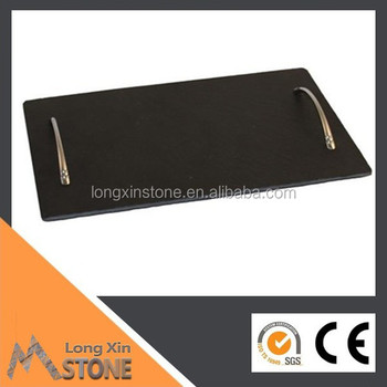 CE slate cheese board 30X20 with stainless steel handles