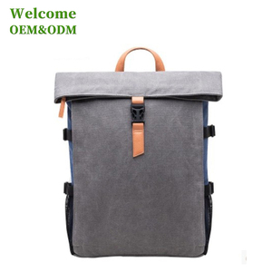 KID custom classical leather handle earphone durable waterproof roll top backpack