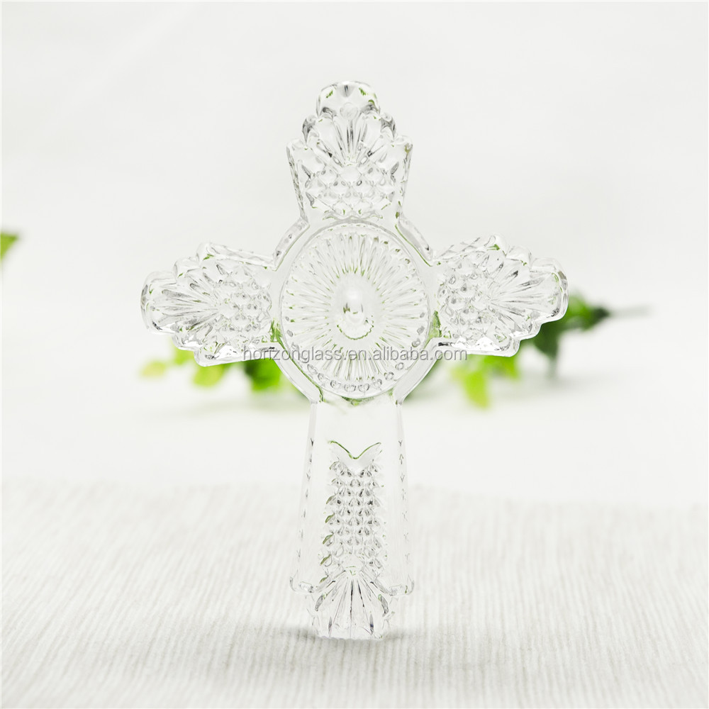 Art design holy cross religious souvenirs glass handcraft cross gift