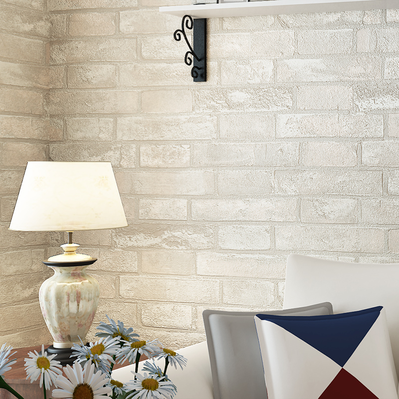 White Color TV Background Wallpaper 3D Brick <strong>Wall</strong>