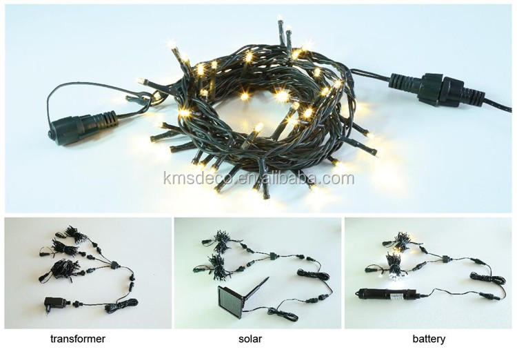 IP44 waterproof 8 functions cool white string lights PVC wire 100L