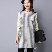Monroo women traditional stripe long skirt and blouse designs korean style long sleeve lady shirt