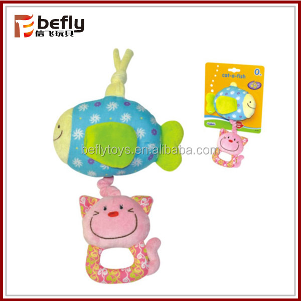 Small softtextile animal baby musical hanging toys