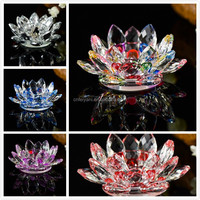 2016 wholesale pretty unique Crystal Lotus Flower Candle Holder for wedding decoration