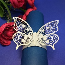 White butterfly shape Laser Lace Paper Napkin Rings Holders for Christmas wedding favor party goblet decoration