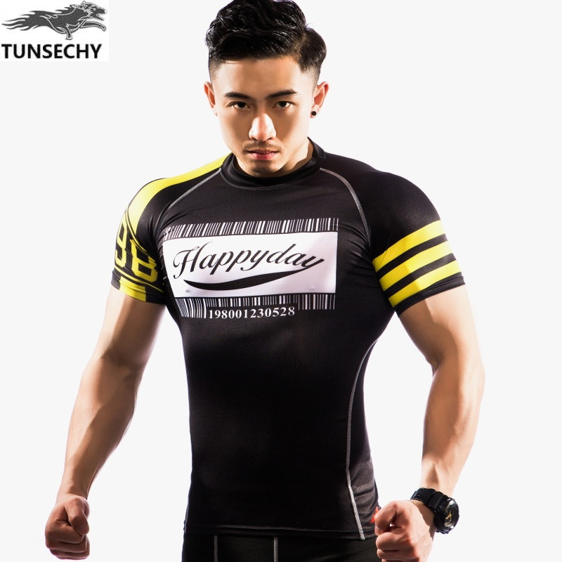 <strong>Active</strong> Wear Slim Fit Round Collar Compression Gym T Shirt Men