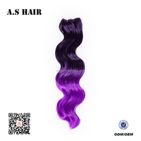 Cheapest Price High Quality Long Lenght Mixed Colored Synthetic Body Wave Hair Extension/Hair Weave Can Be Customized