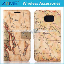 Alibaba Express Map Pattern PU Leather Magnetic Book style Flip Slim Fit Case Cover For Samsung Galaxy S6