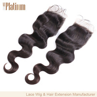Body Wave Malaysian Remy Human Hair Middle Part Closure 4x4""