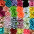 Pretty Chiffon Silk Rose Hair Flower With Leaf For Kids Wholesale In Stock
