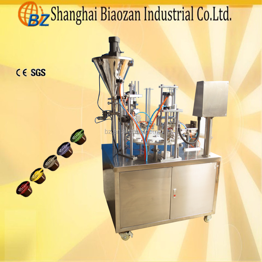 Rotary Type Automatic Coffee Capsule Filling Sealing Machine, Cup Sealer