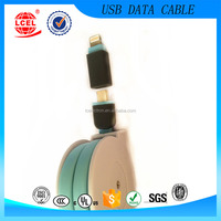 High Quality 2 in 1 Retractable usb data cable TPE Wire USB Charge Sync Cable For iPhone and Samsung