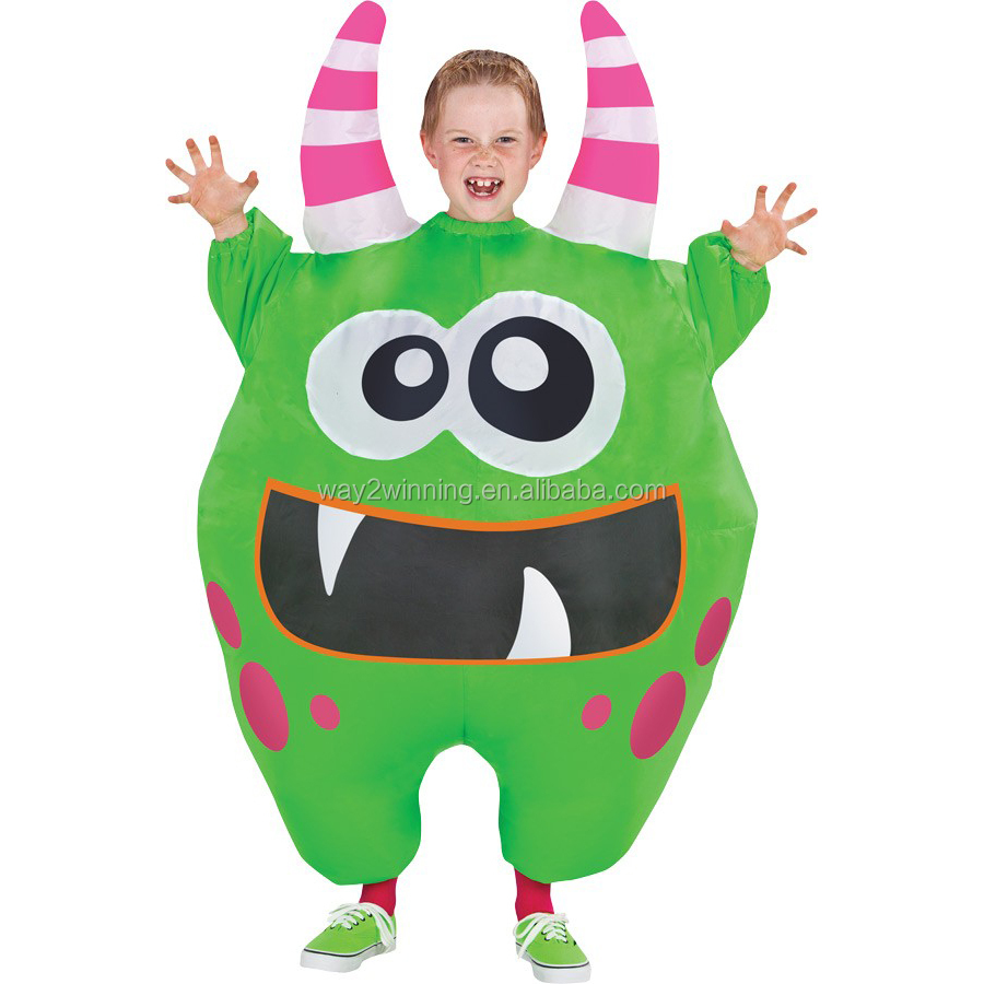 Inflatable Scareblown Green Monster Child Haloween Costume