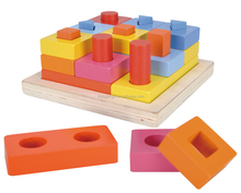 29pcs wooden geometric shape blocks stacking toy for 12 month up baby
