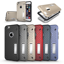 Shockproof Heavy Duty Mesh Net Mobile Phone Case For iphone 7plus, For iphone 7plus 2 in 1 Hybrid kickstand back