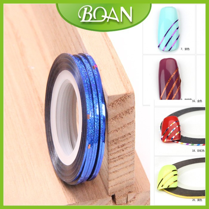 BQAN Shinning Color Nail Sticker 3D Design For Beauty Manicure Foil Decal Nail Art Line Tape