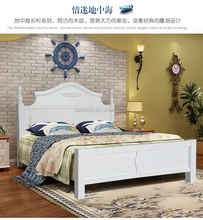 2017 modern simple style white solid wood pine double bed