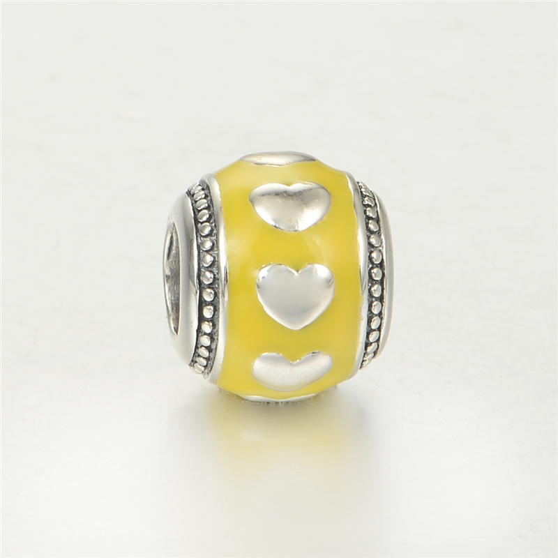 Yellow 925-Sterling-Silver Beads Round Fit Pandora Bracelets Charms Silver 925 DIY Bead With Heart On Sterling-Silver-Jewelry