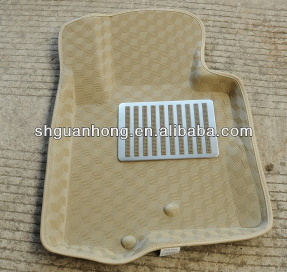 3DDedicated left hand drive POE Material Beige Color car mats with Anti-skid bottom Material
