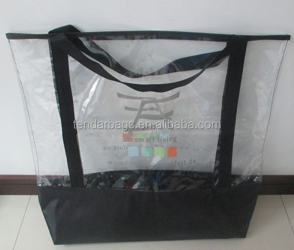 Transparent PVC Beach Handbag For Shopping Carry